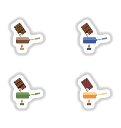 Set stylish paper stickers chocolate fondue on vector image
