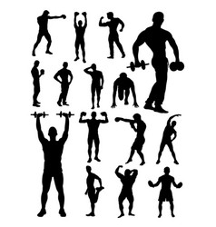silhouette active man vector image