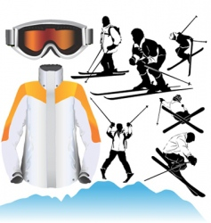 ski objects vector image vector image