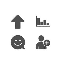smile upload and histogram icons add user sign vector image