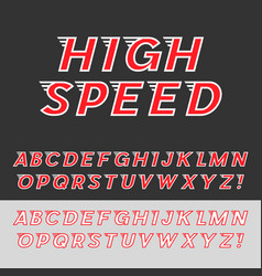 Speed dynamic italic font vector