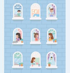 Stay home quarantine building window people vector