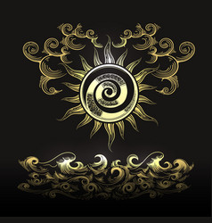 sun clouds and sea esoteric vector image