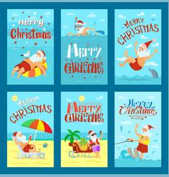 Sunny merry christmas with santa on beach vector