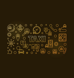 taxi concept linear colorful horizontal vector image