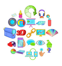technique icons set cartoon style vector image