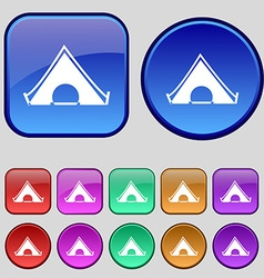 The tent icon sign A set of twelve vintage buttons vector image