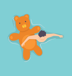 Top view persone floating on air mattress in vector