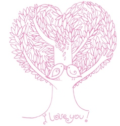 Two birds on love tree vector