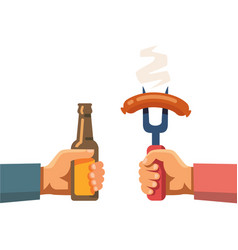 two hands holding beer botle and sausage on fork vector image