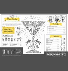 Vintage cocktail menu design restaurant menu vector