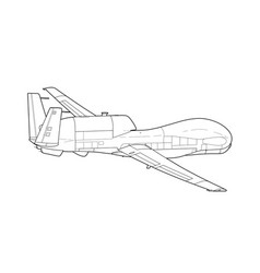 War drone uav aircraft isolated on background vector