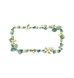 watercolor frame with green eucalyptus vector image