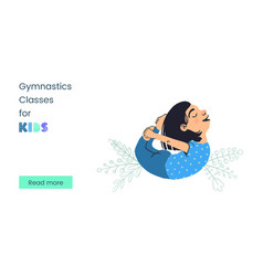 Web banner template gymnastics classes for kids vector