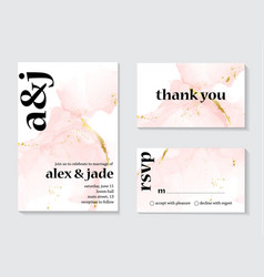 wedding rose gold invitations concept and card vector image