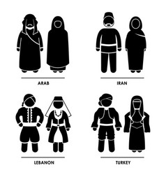west asia - arab iran lebanon turkey man woman vector image
