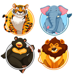 Wild animals on circle template vector