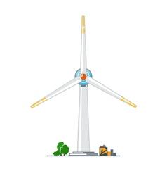 Wind Turbine on White Background vector image