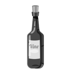 Wine bottle icon gray monochrome style vector