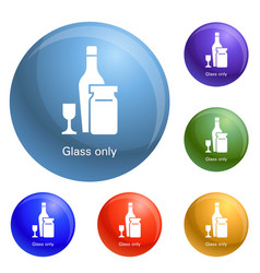 wine glass bottle icons set vector image