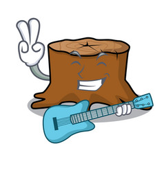 with guitar tree stump mascot cartoon vector image