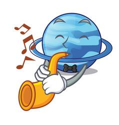 With trumpet planet uranus in the cartoon form vector