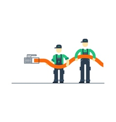 Workers with cable connecting to internet vector