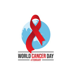 world awareness red ribbon of cancer with globe vector image