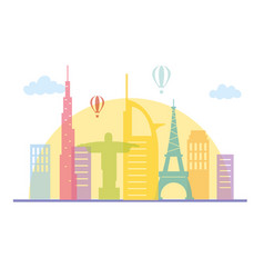 world famous monuments air balloons skyline vector image