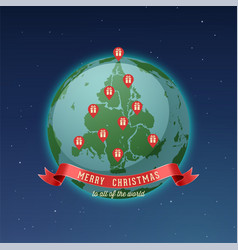 world map globe christmas tree vector image