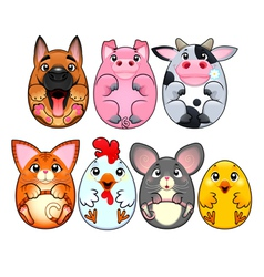 Funny animals rounded like eggs vector image vector image