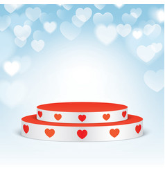 white pedestal with red hearts vector image vector image