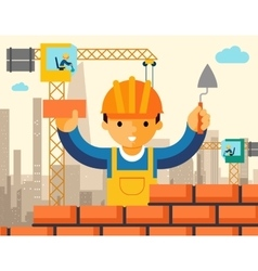 Builder builds brick wall of house vector image vector image