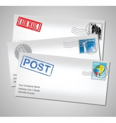 envelopes with stamps vector image vector image