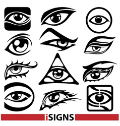 eye signs and icons set vector image vector image