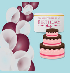 happy birthday card invitation cake balloons vector image vector image