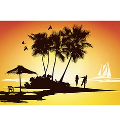 honeymoon relaxing vector image vector image