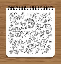 notebook design hameleon set vector image vector image