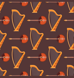 seamless pattern background stringed musical vector image vector image