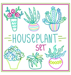 Set of hand-drawn doodle outline houseplants vector image vector image