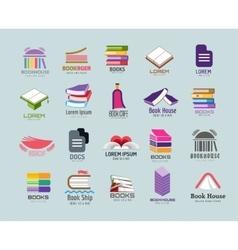 Book logo template set vector image