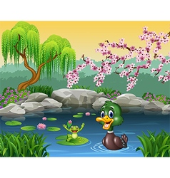 Cute duck swimming with frog vector image vector image