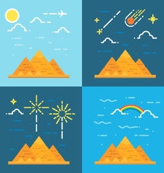 Flat design 4 styles of pyramids of Giza Egypt vector image vector image