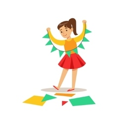 Girl Doing Paper Garland Creative Child vector image