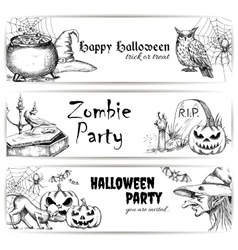 Halloween pencil sketch decoration elements vector image vector image
