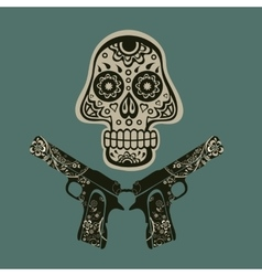 Hand drawn skull with guns vector image vector image