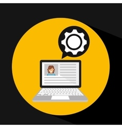 laptop social profile progress icon vector image vector image