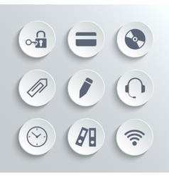 Office icons set - white round buttons vector