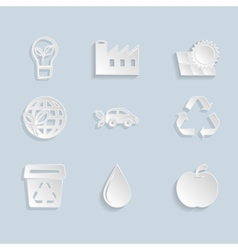 Paper Ecology Icons Set vector image vector image