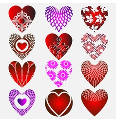 set of complex heart icon with calligraphic elemen vector image vector image